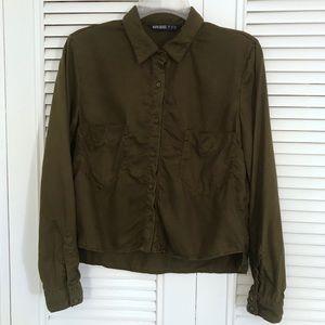 Zara Basic Z1975 Denim - Button-Up Crop Top!